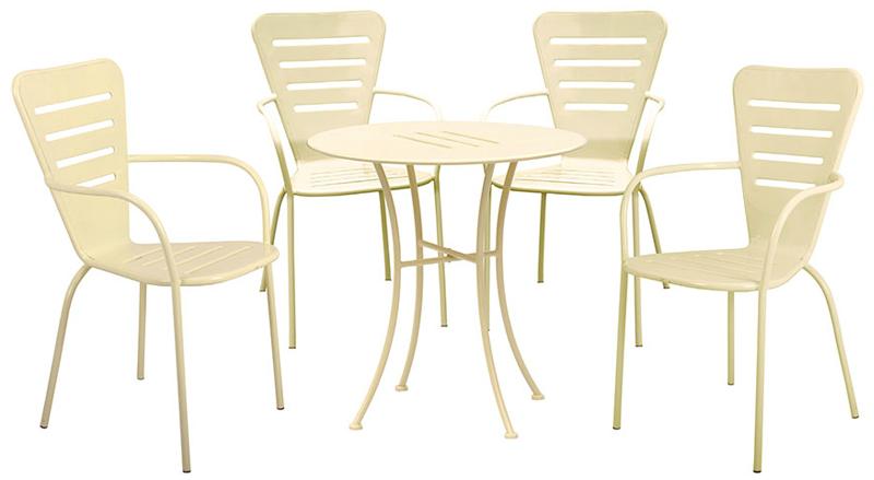 Set pranzo in acciaio verniciato Ginevra color crema