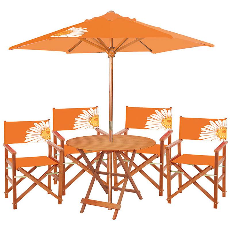 Set bistrot in legno con ombrellone MARGHERITA, pieghevole