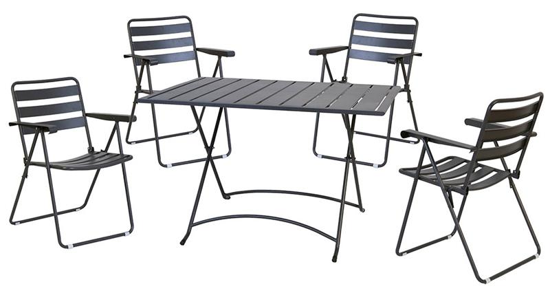 Set pranzo da giardino pieghevole MERY, con 4 sedie