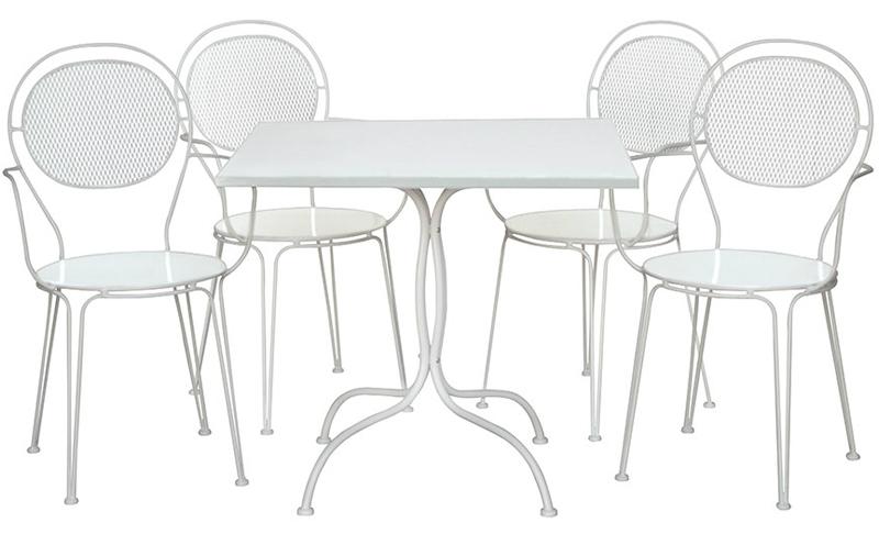 Salotto in acciaio Lulu bianco: 4 sedie + 1 Tavolo bianco