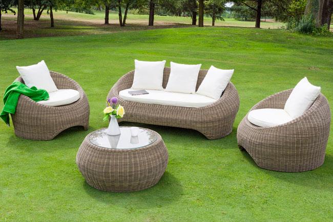 Salotto da giardino in wicker barcellona con cuscini arredo