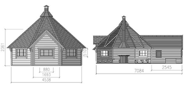 dimensioni casetta Demetra con barbecue e sauna