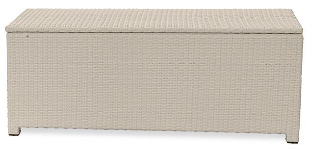 Cassapanca da esterno in wicker color white