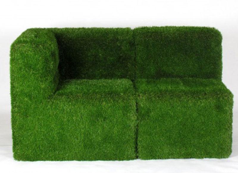 poltrona ad angolo & sedia green rivestite in erba sintetica