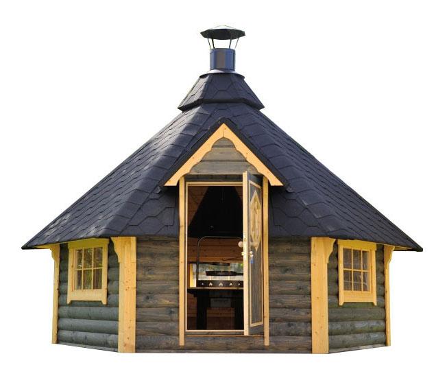 casetta in legno con barbecue e sauna DEMETRA