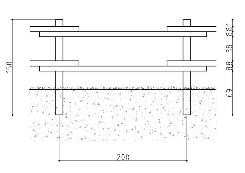 Dimensione Recinzione con mezzi pali RANCH in legno di pino