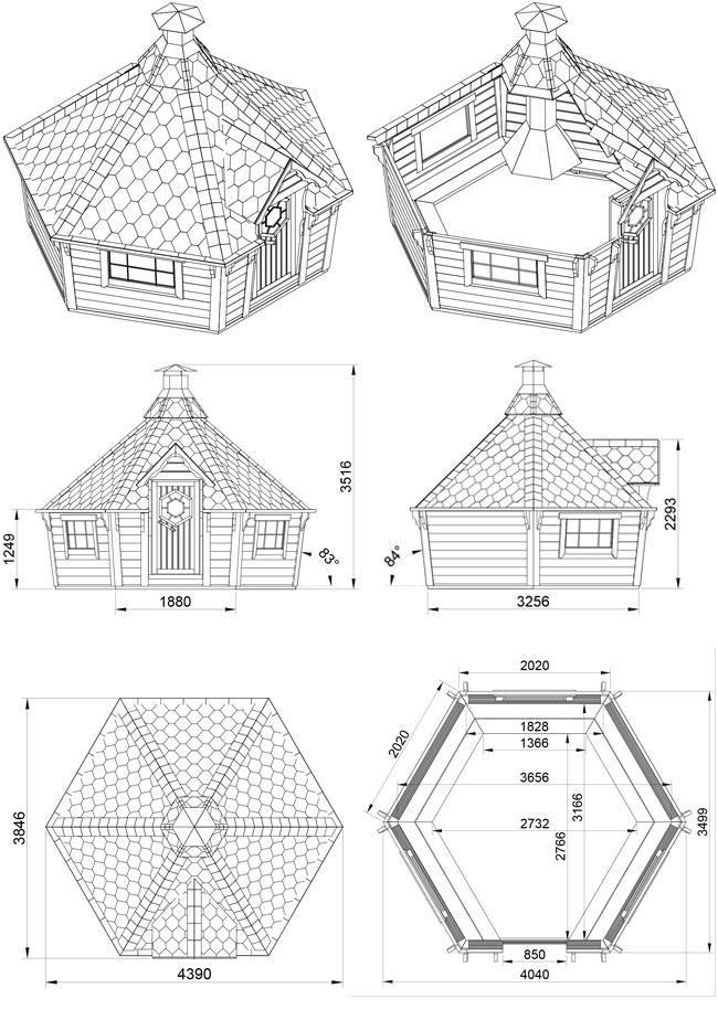 dimensione casetta in legno TICHE