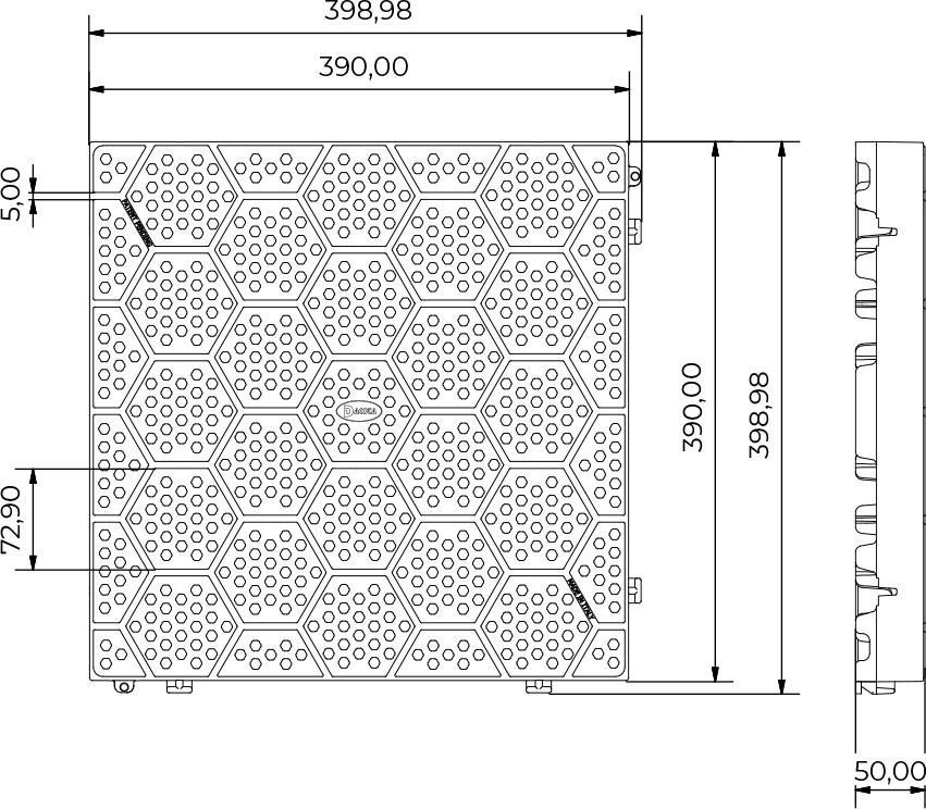 Dimensioni Mattonella in PVC forata con motivo esagonale - 40 x 40 cm
