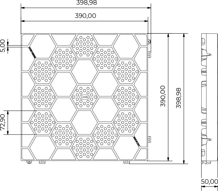 Dimensioni Mattonella in PVC semiforata con motivo esagonale - 40 x 40 cm