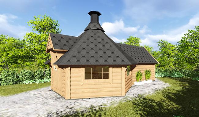 Casetta in legno Dione con barbecue e sauna