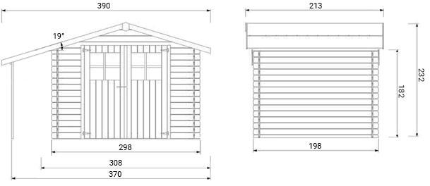 dimensioni casetta in legno Dora