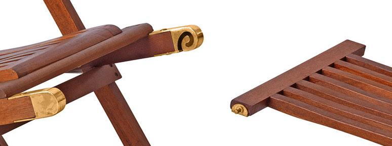 Sdraio in legno ERIKA con poggiapiedi removibile