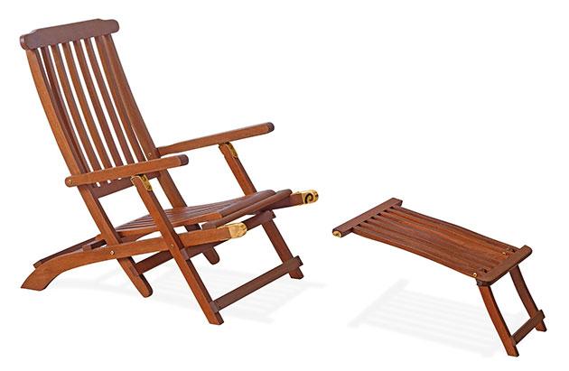 Sdraio in legno di keruing ERIKA, regolabile, poggiapiedi removibile