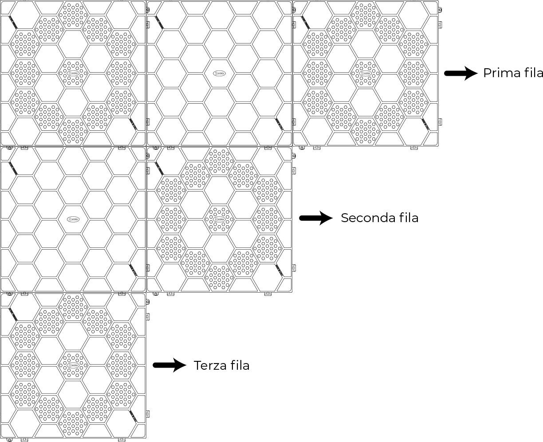 Esempio Installazione Mattonella in PVC ad incastro con motivo esagonale - 40 x 40 cm