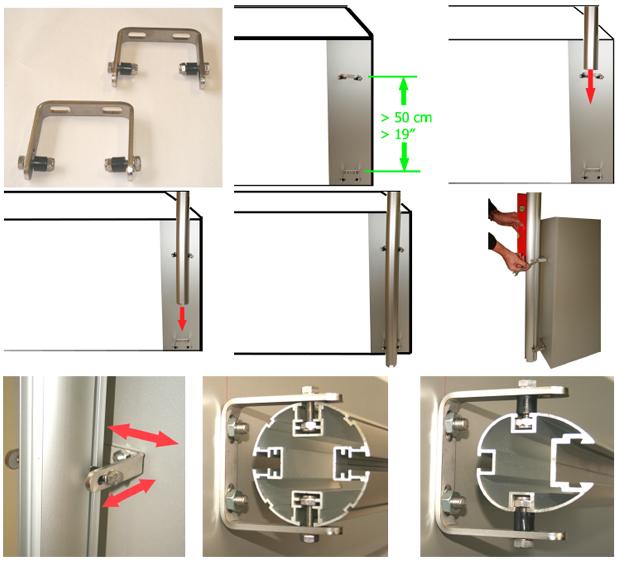 Palo e accessori per fissaggio Ombrellone PARAFLEX fissaggio a parete