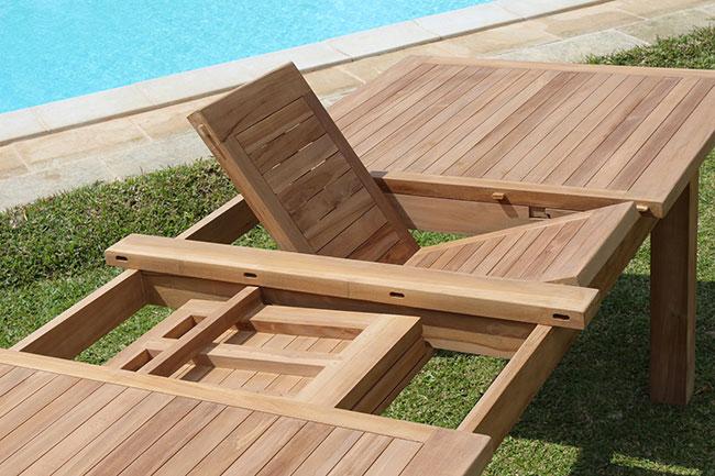 Tavolo Giorgia in legno di teak, allungabile