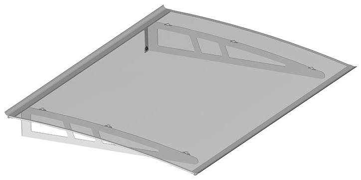 Pensilina in alluminio 100 x 140 cm Policarbonato Compatto Trasparente