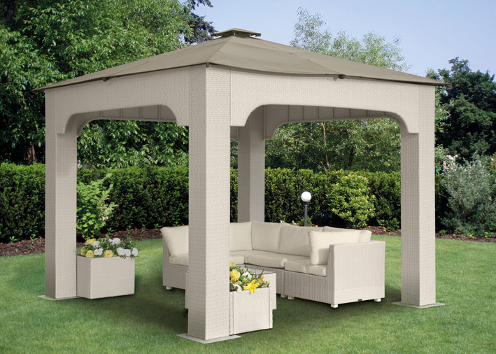 Gazebo in wicker 3x3 mt con telo impermeabile