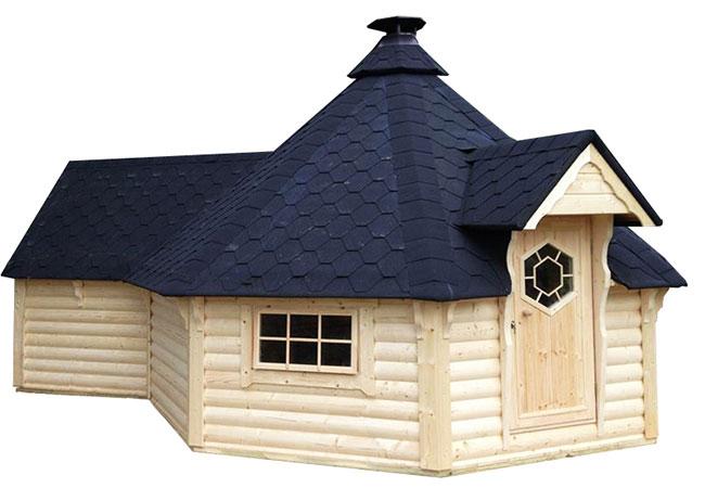 casetta in legno con barbecue GIUNO