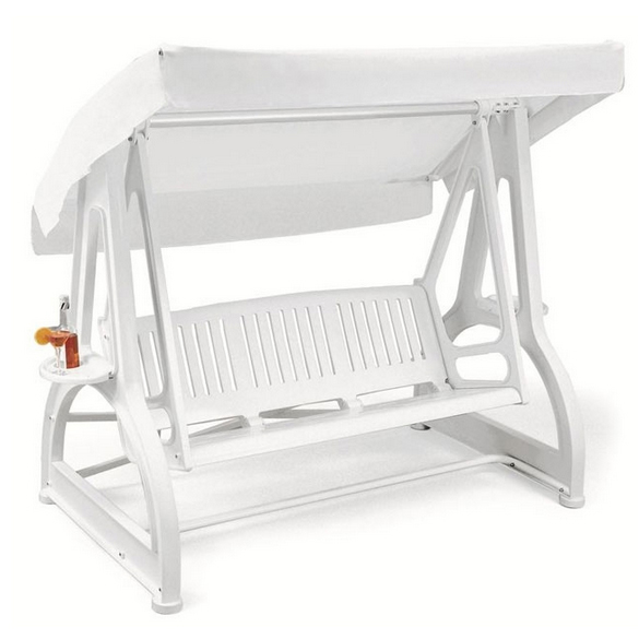 Dondolo 3 posti JASPER in resina bianco con porta bibite by Scab