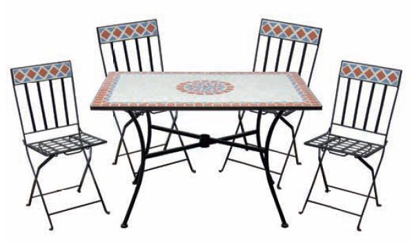 Set bistrot con mosaico LIPARI, pieghevole