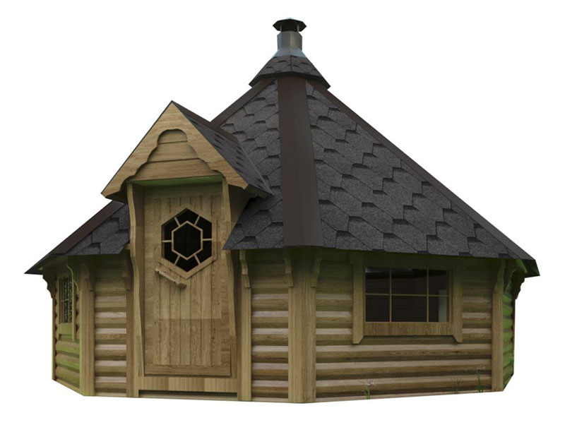 Casetta in legno MAIA con barbecue
