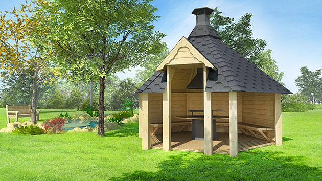 Casetta in legno con barbecue METI