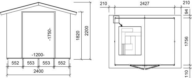 Dimensioni casetta in legno milan