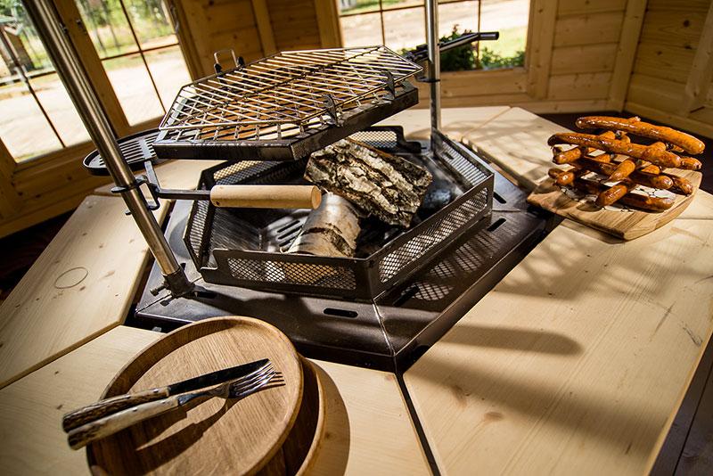 Casetta in legno MINERVA con barbecue