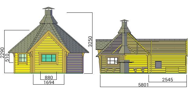dimensioni casetta con barbecue e sauna dione
