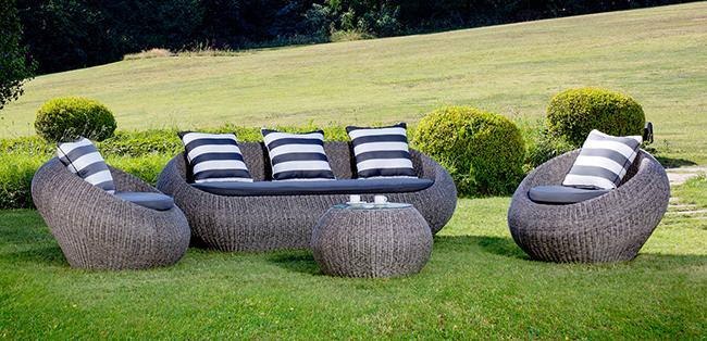 Salotto da giardino in wicker NAPOLI con cuscini