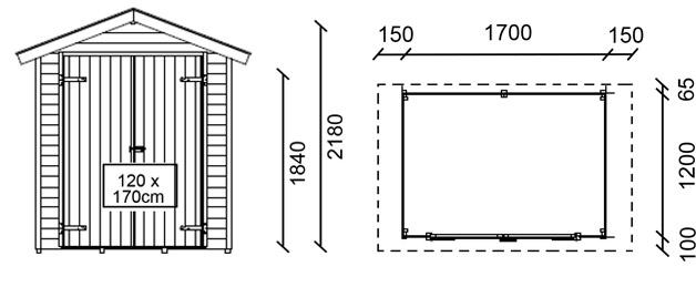 Dimensioni casetta in legno da giardino NARCISO