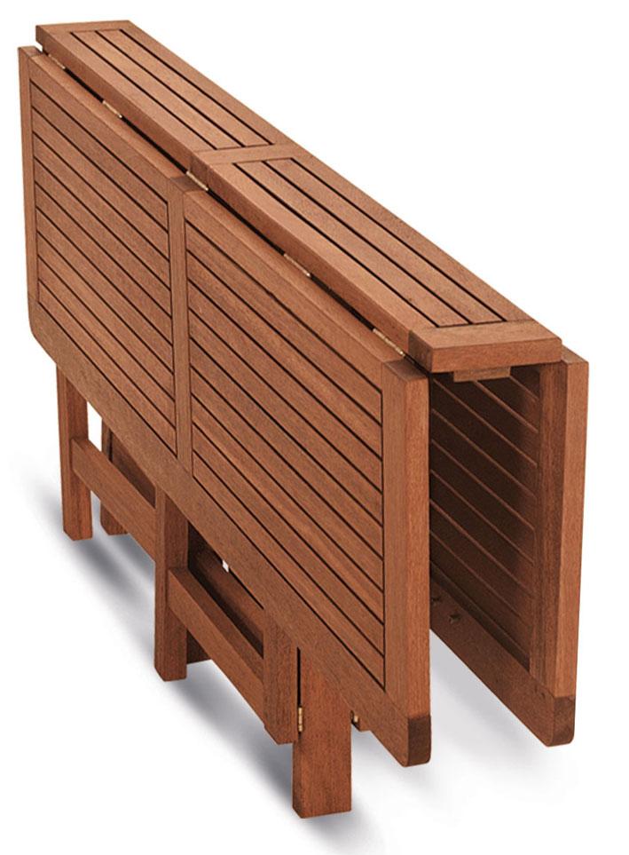 tavolo richiudibile ed allungabile in legno keruing