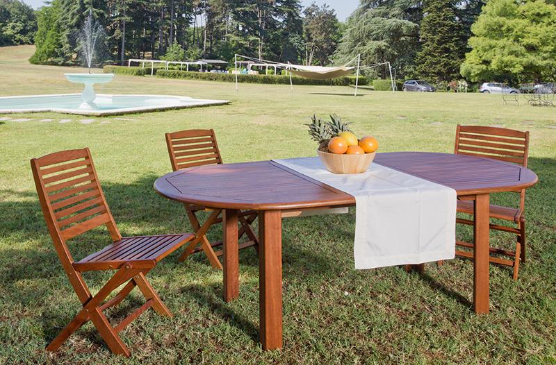 Tavolo da giardino ovale in legno di keruing PEONIA, allungabile  
