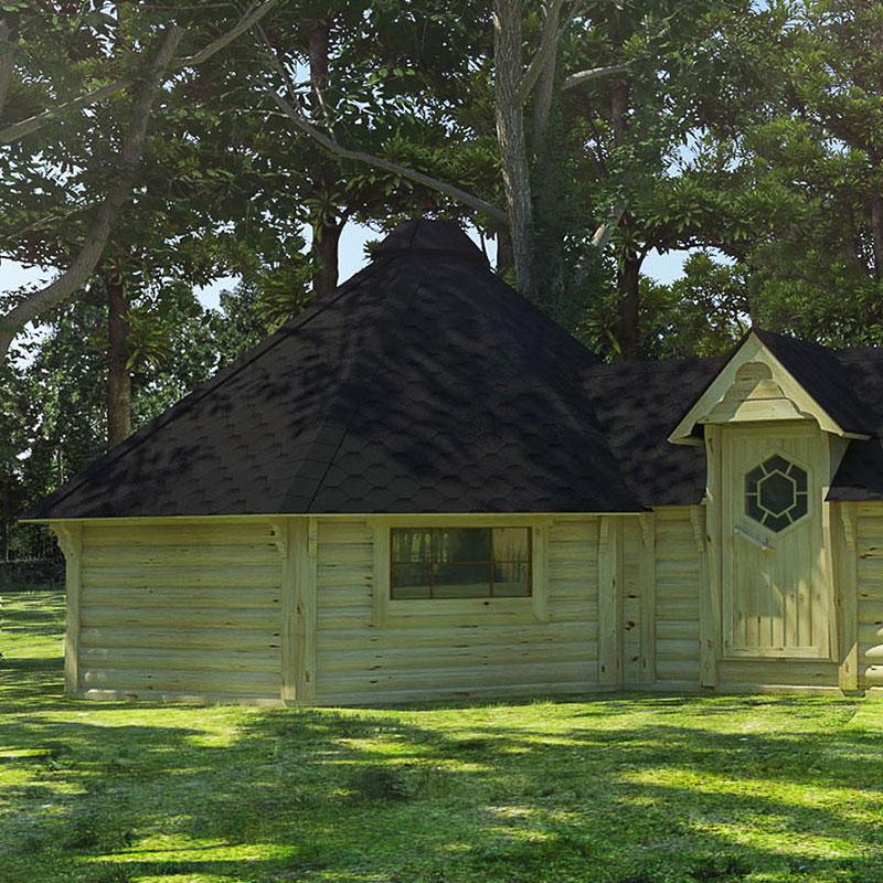 Casetta in legno PERSEFONE con barbecue