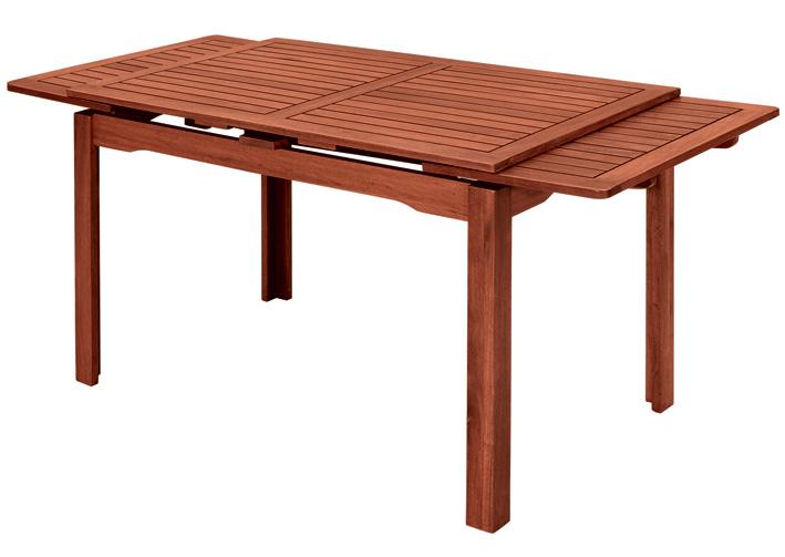 Tavolo in legno di keruing THUJA, rettangolare allungabile