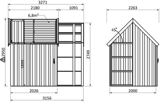 dimensioni casetta legno virgo