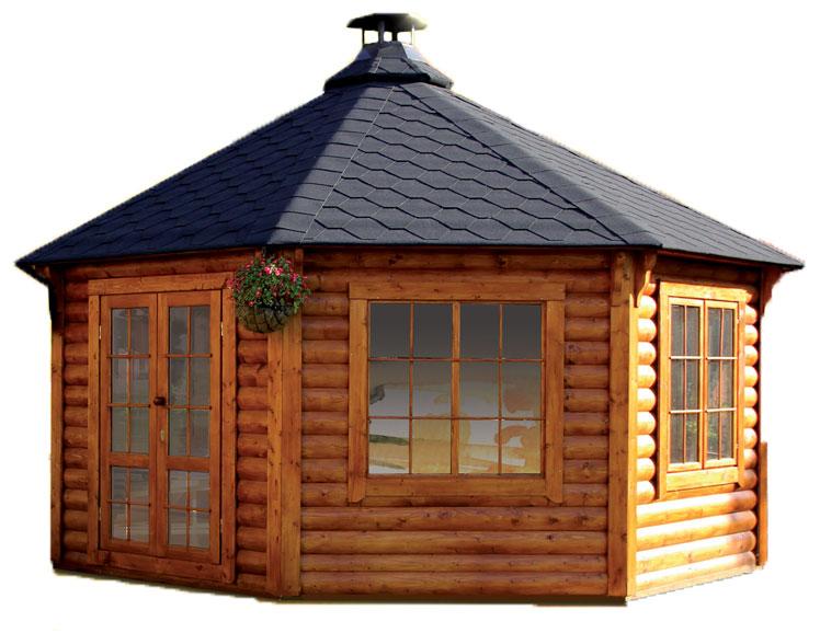 Casetta in legno con barbecue
