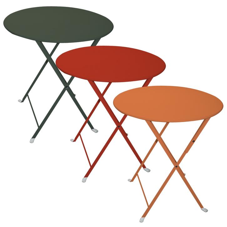 Tavolo pieghevole da giardino in acciaio lario rotondo verde arancio e rosso arredo - Tavolo pieghevole da giardino ...