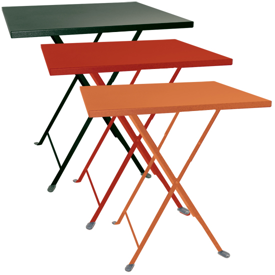 Tavolo pieghevole da giardino in acciaio lario quadrato verde arancio e rosso arredo - Tavolo pieghevole da giardino ...