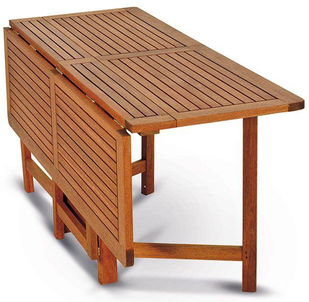 Tavolo in legno keruing papavero richiudibile ed - Piani per tavoli da esterno ...