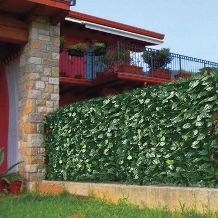 Recinzione in pvc da esterno con foglie di lauro l 300 cm arredo - Recinzione per giardino ...