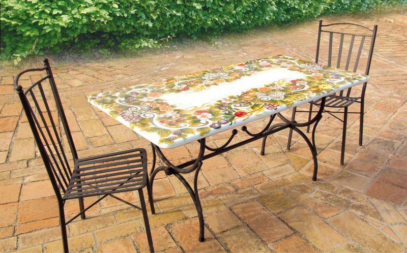 Tavoli Da Giardino Decorati.Tavolo Rettangolare In Pietra Lavica Giardino Decorato A Mano