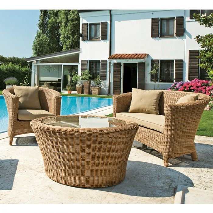 Set salotti componibili in vimini rattan e wicker for Set arredo giardino