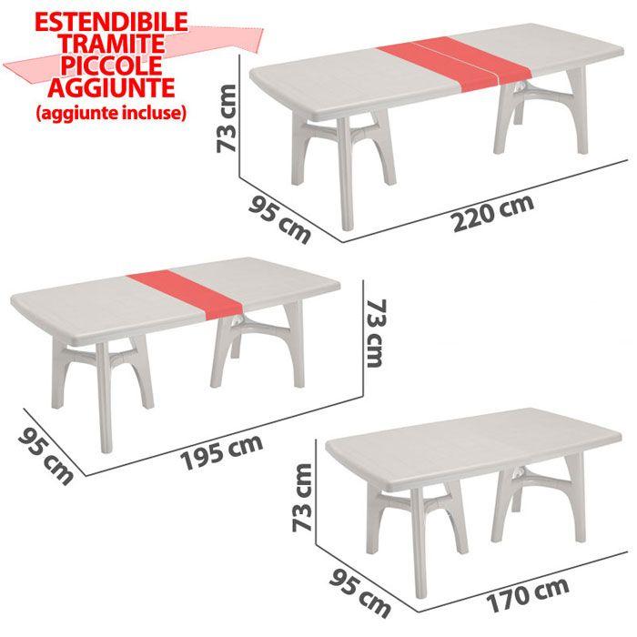 Tavolo da giardino president tris in resina allungabile by - Tavoli in resina da esterno ...