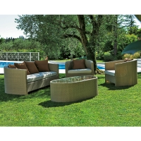 Salotto da giardino in wicker DIAMOND, con cuscini