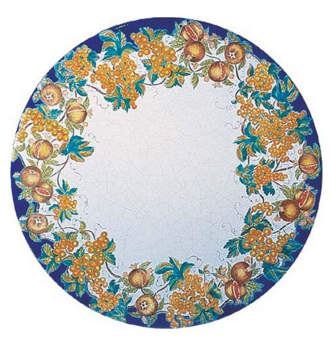 Tavolo rotondo in pietra lavica afrodite decorato a mano arredo - Tavolo in pietra giardino ...
