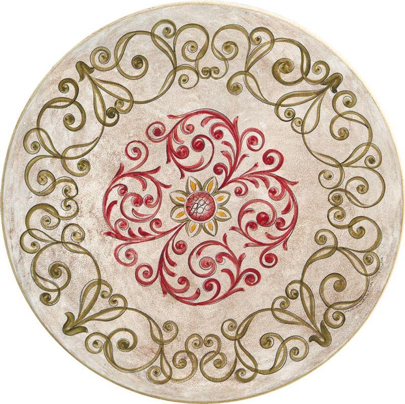 Tavolo rotondo in pietra lavica antico decorato a mano - Tavolo in pietra da giardino ...