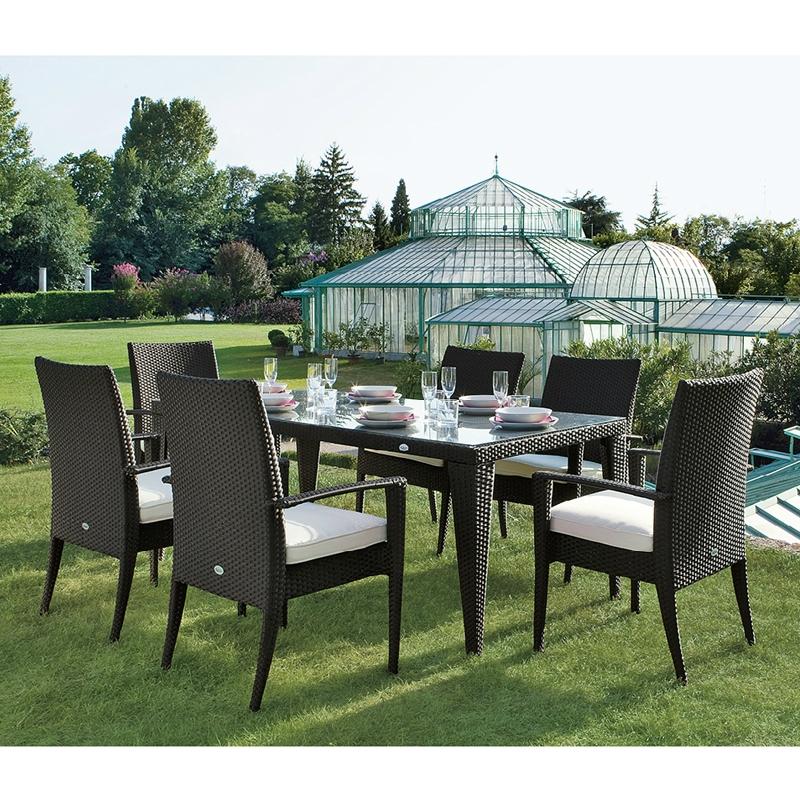 Salotto da giardino in wicker twist con cuscini per 6 - Cuscini per poltrone da giardino ...