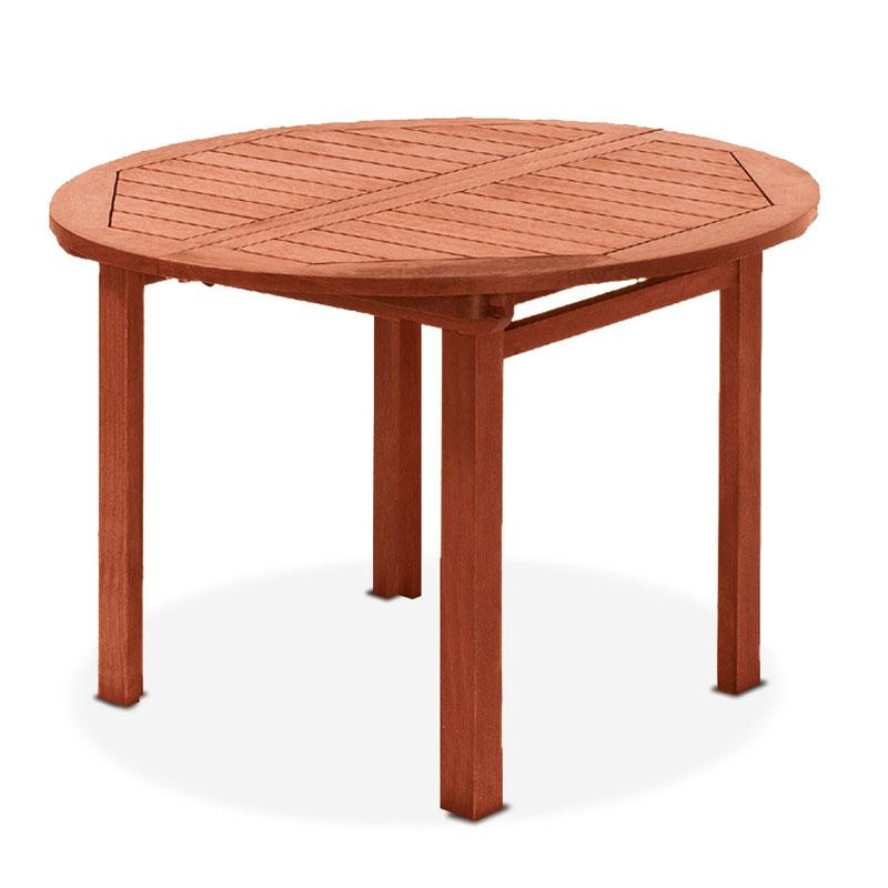 Tavolo rotondo in legno keruing agave allungabile for Tavolo rotondo allungabile legno